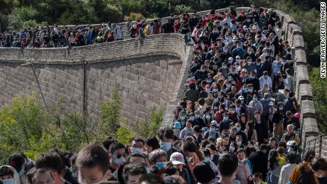 What pandemic? Crowds swarm the Great Wall of China as travel surges during holiday week