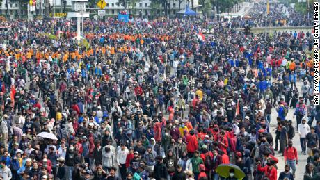 Protesters gather in Jakarta Thursday to demonstrate against the law.