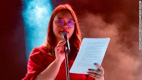 Read a list of demands of Panusya Sithijiravattanakul during a pro-democracy rally at Thammasat University on August 10, 2020