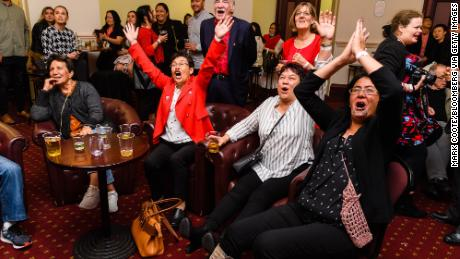 Labor party supporters see the results come and wait for the arrival of Jacinda Ardern during the election night program on October 17, 2020 at Uck Cland Town Hall in Uck Cland, New Zealand.