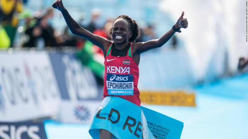 Peres Jepchirchir breaks own world record at World Athletics Half Marathon Championships