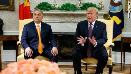 President Donald Trump speaks during a meeting with Hungarian Prime Minister Viktor Orbán in the Oval Office in May 2019.