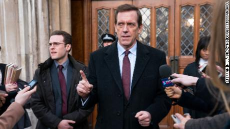 "Hugh Laurie leads as self-serving British politician Peter Laurence in ""Roadkill."""