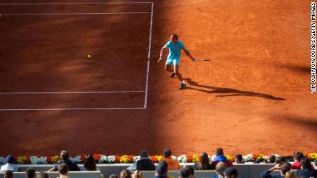 Nadal plays a shot against Diego Schwartzman during their semifinal at the French Open.