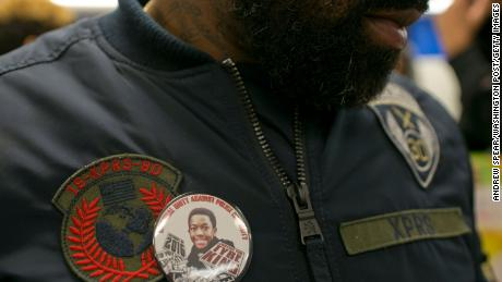 Maurice Cardwell, Tyre King's father, wears a pin during a 2016 protest.