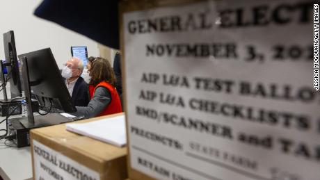 Members of an adjudication review panel look over scanned absentee ballots at the Fulton County Election Preparation Center on November 4, 2020, in Atlanta.