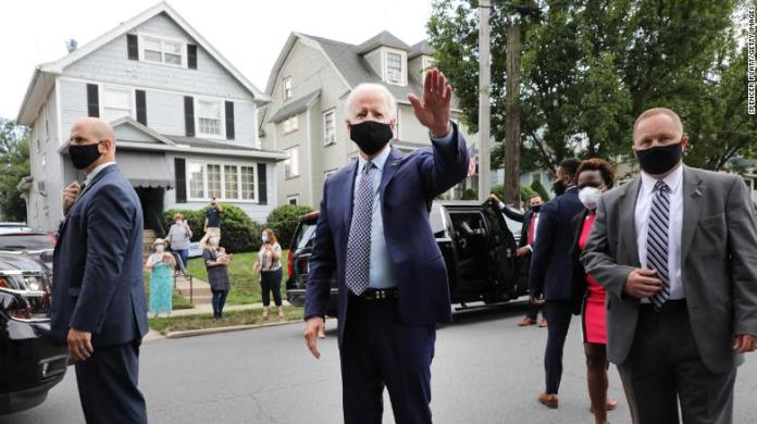 Joe Biden stops in front of his childhood home on July 9, 2020 in Scranton, Pennsylvania.