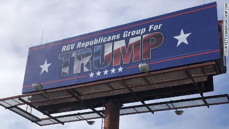 One of several billboards seen in Harlingen, Texas, in support of Trump's presidential campaign.
