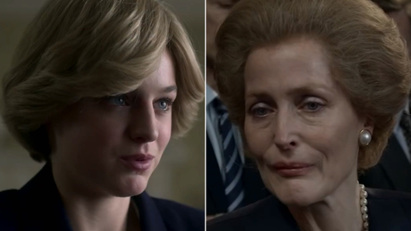 "In ""The Crown,"" Emma Corrin (left) plays Diana, Princess of Wales, and Gillian Anderson (right) portrays former British Prime Minister Margaret Thatcher."