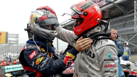 Like Hamilton, the parents of Michael Schumacher (right) made tremendous sacrifices to fund their son's fledgling karting career as a child, while Sebastian Vettel (left) has said he may not have made it as a professional driver were the costs the same when he was a junior as they are now.