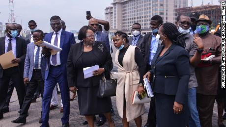 Members of the judicial panel visit the Lekki toll gate on October 30.