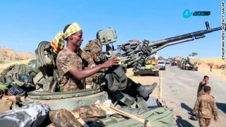 This image, made from undated handout video released by the state-owned Ethiopian News Agency on November 16, 2020, shows Ethiopian military in an armored personnel carrier near the border of the Tigray and Amhara regions of Ethiopia.