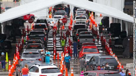 Drive-through vehicles this month at the Coronavirus Testing Center in Miami Gardens, Florida.
