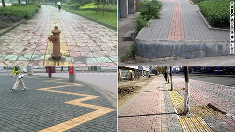 Some tactile paving designed to guide blind pedestrians in China is built in a way that's unfriendly or dangerous to use.
