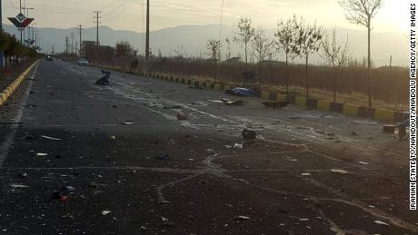 A view of the scene where Fakhrizadeh was killed, in Absard, Iran on Friday.