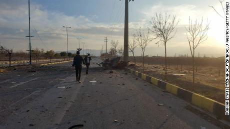 มุมมองของฉากที่ Mohsen Fakhrizadeh ถูกสังหารในเมือง Absard ประเทศอิหร่านเมื่อวันศุกร์