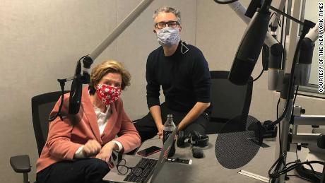 """""""The Daily"""" host Michael Barbaro and Carolyn Ryan, a deputy managing editor, on the day of the live podcast show for Election Day."""