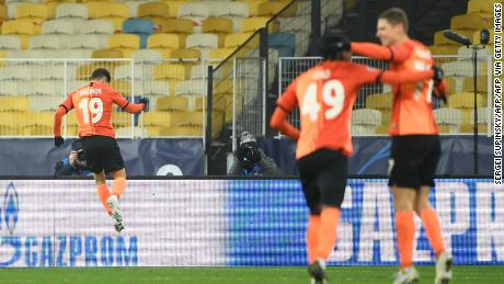 Israeli forward Solomon, left, celebrates scoring his team's second goal against Real Madrid.