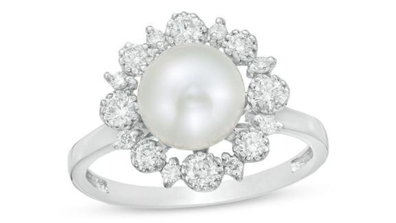 Cultured Freshwater Pearl and Diamond Sunburst Frame Ring