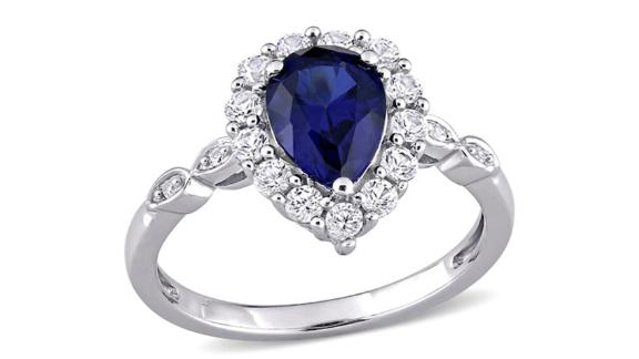 Pear-Shaped Blue and White Sapphire and Diamond Ring