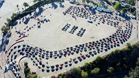 In an aerial view from a drone, cars are lined up at Dodger Stadium for Covid-19 testing on the Monday after Thanksgiving weekend.