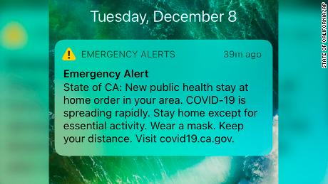 27 million Californians receive texts to stay home after the state added nearly 170,000 cases in a week
