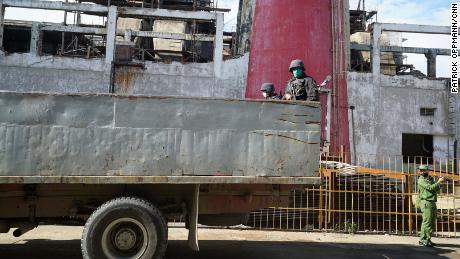 Cuban military cadets at a military base just outside Santiago de Cuba haul contraband marijuana.