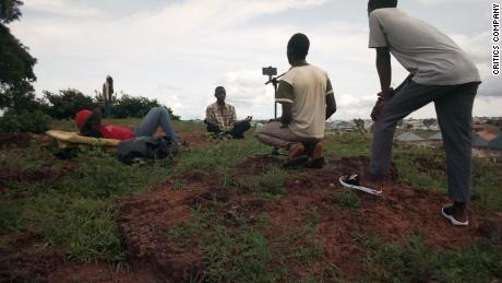 """Behind-the-scenes photo from one of their films titled """"Z the beginning,"""" in Kaduna, Nigeria."""