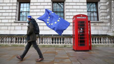 On December 11, 2020, a man wearing an EU flag-themed barrette and holding the EU flag appeared at Whitehall in central London.