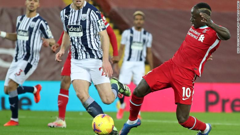 Liverpool's Sadio Mane scores the opening goal against West Bromwich Albion after neatly controlling Joel Matip's sharp pass on Sunday, December 27.