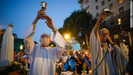 Catholic priests staged mass protests during an anti-abortion protest as lawmakers debated its legalization outside of Congress in Buenos Aires on Tuesday.