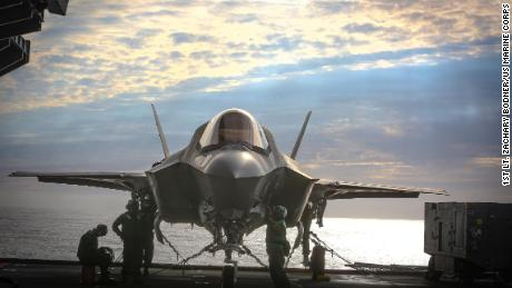 The US Marine Corps F-35 fighter jet deployed about the aircraft carrier HMS Queen Elizabeth during an exercise in September.