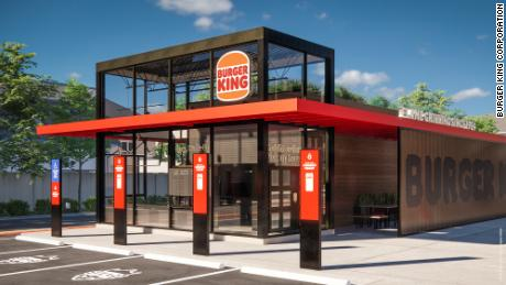 The exterior of a redesigned restaurant. (Rendering)