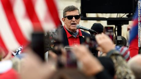 Former US National Security Advisor Michael Flynn speaks to supporters of President Donald Trump during the Million MAGA March to protest the outcome of the 2020 presidential election in front of the US Supreme Court on December 12, 2020 in Washington, DC.