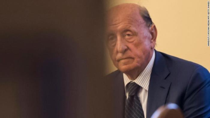 Former president of the IOR Vatican bank, Angelo Caloia is pictured during a court hearing on embezzlement charges at the Vatican.