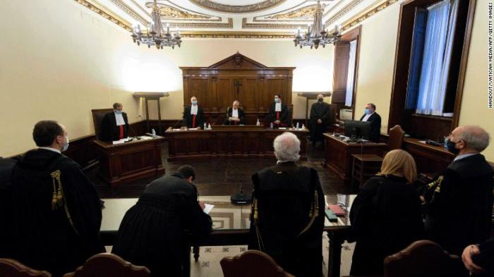 Magistrates during the trial of Angelo Caloia (not in picture) on January 21.