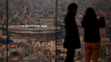 Japan National Stadium, where opening ceremony and many other events are planned for postponed Tokyo 2020 Olympics, is seen from a rooftop observation deck on January 21 in Tokyo.