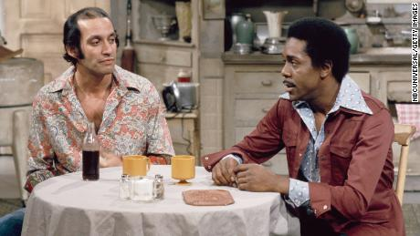 "Gregory Sierra (left) as neighbor Julio Fuentes in an episode from ""Sanford and Son"""