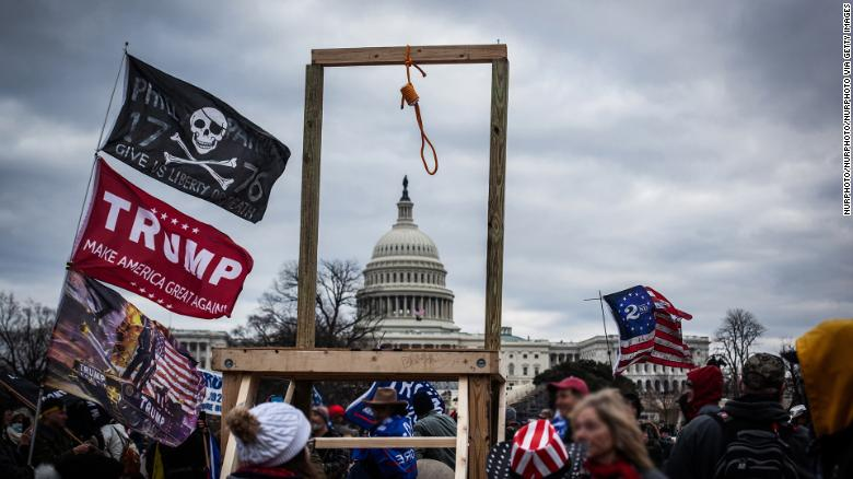 """Trump supporters gather near the US Capitol, on January 6 in Washington, DC, as seen in the """"Frontline"""" documentary, """"Trump's American Carnage."""""""