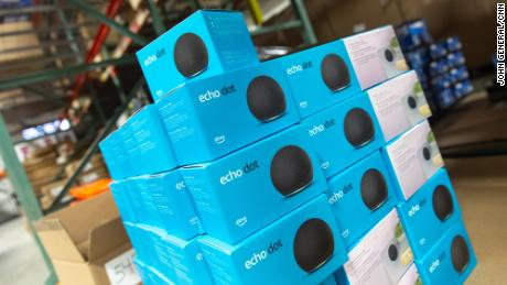 A number of returned Amazon products can be found in 888 Lots' warehouse including this palette of Amazon Echo Dots.