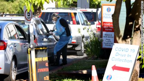 Members of the public attend the Rivervale drive through Covid-19 testing clinic on February 01, 2021 in Perth, Australia.