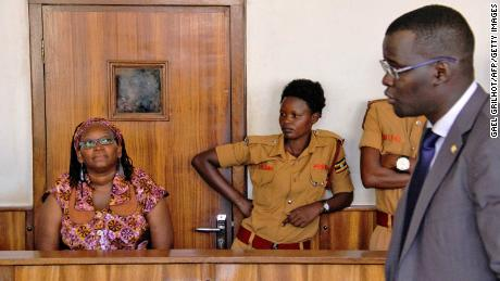 Stella Nyanzi, left, in court as she faced charges for cyber-harassment and offensives communication, in Kampala, on April 10, 2017.