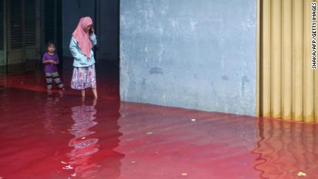 It is not uncommon for rivers in Pekalongan to turn different colors.