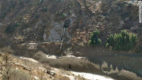 The damaged dam at Raini Chak Lata village in the northern state of Uttarakhand is pictured after a Himalayan glacier broke and crashed into it.