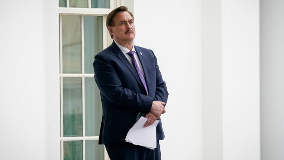 MyPillow CEO Mike Lindell waits outside the West Wing of the White House before entering on January 15, 2021.