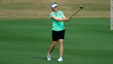 Sorenstam hits a shot on the 17th hole during the second round of the Diamond Resorts Tournament Of Champions.