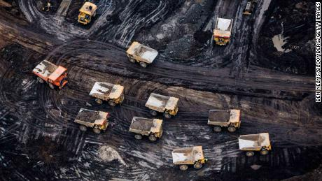 Heavy kiosks are seen in the Athabasca oil sands in Alberta, Canada.