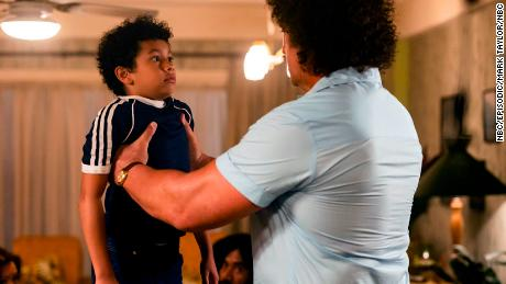 """Adrian Groulx (left) as the 10-year-old Dwayne Johnson and Matthew Willig (right) as Andre the Giant star in """"Young Rock."""""""