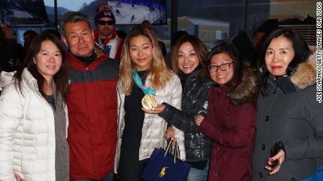 US Olympian Chloe Kim posed with her family at a USA house in PyeongChang.