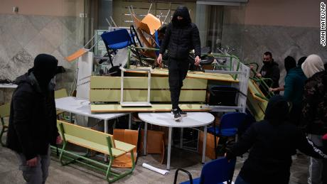 Hasel's supporters built barricades inside the University of Lleida on Monday.